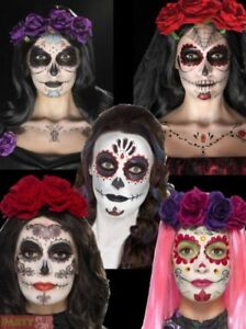 Day Of The Dead Makeup Tattoo Kit Halloween Sugar Skull Fancy Dress - How-to-do-day-of-the-dead-makeup