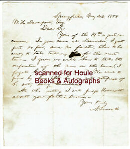 ABRAHAM LINCOLN - LETTER - SIGNED + ENVELOPE - - SPRINGFIELD - LAND DISPUTE