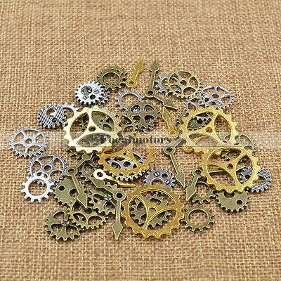 50pcs Antiqued Bronze Mixed Clock Steampunk Gear Charms 12mm 27mm DIY Jewelry