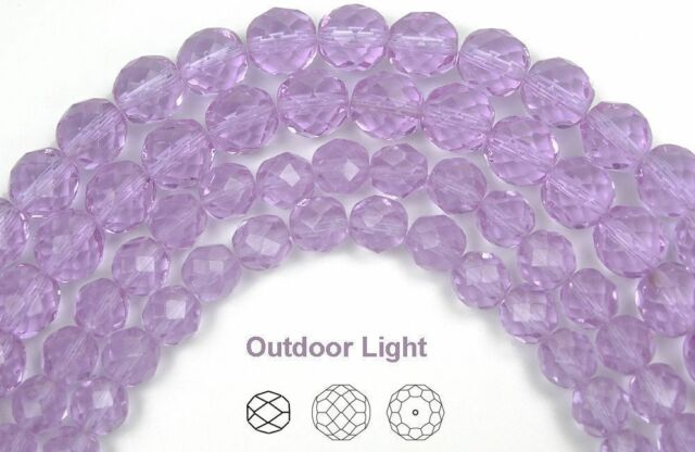 Czech Fire Polished Round Faceted Beads in Milky Violet, Sky Blue Violet, Violet