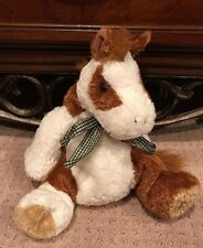 "Horse Pony Brown White Mary Meyer Flip Flops 16"" Plush Stuffed Animal Green Bow"