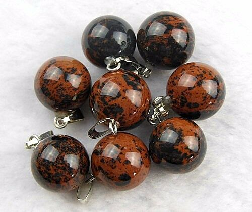 8pcs Beautiful unique Mahogany Obsidian round ball pendant bead fs00183