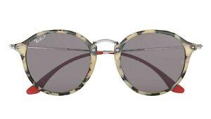 83c183d9f5 POLARIZED NEW Genuine RAY-BAN ROUND FLECK Beige Havana Sunglasses ...