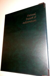 NATIONAL-RECORD-OF-ACHIEVEMENT-PVC-A4-FOLDER-IN-GREEN-LEATHER-LOOK-PVC