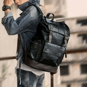 Men's Leather Backpack Shoulder Bag Weekender Travel School Laptop Bags Daypack