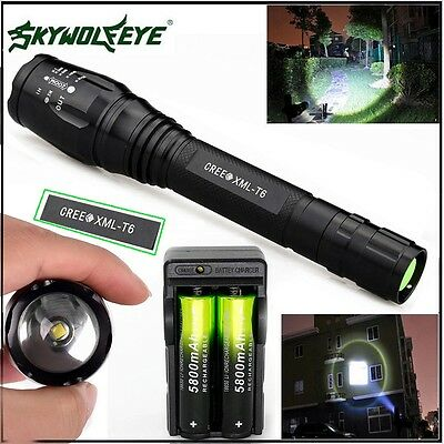 Zoomable 20000LM 5-Mode CREE XMLT6 LED Flashlight Lamp Light 18650+Charge h2