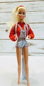 """MATTEL BARBIE Doll Short Overalls Jacket Outfit Blonde Hair Blue Eyes 12"""" Tall"""