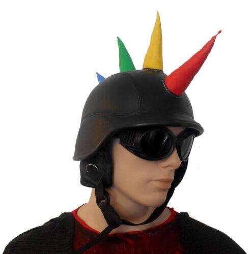 Mens Biker Helmet /& Goggles Jockey Black Brown Festival Steampunk Hat Costume