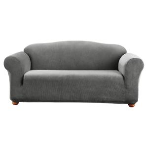 New Sure Fit Stretch Madison Stripe One Piece Gray Sofa