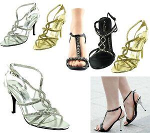 Zapatos de fiesta señoras para mujer Sandalias De Boda Nupcial Diamante Tacón de noche de calzado