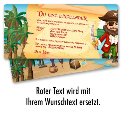 Einladung zum Geburtstag Pirat Schatzkarte Einladungskarten Kindergeburtstag