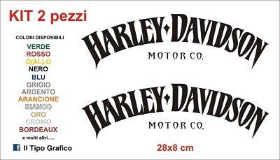 2 ADESIVI DECAL STICKERS HARLEY DAVIDSON MOTOR CO ARANCIO DA SERBATOIO MOTO CUSTOM