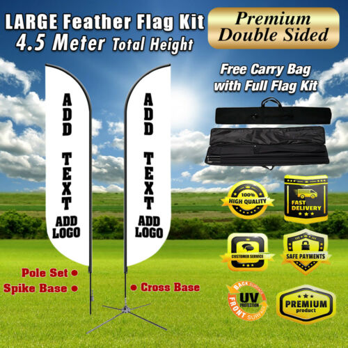 15ft cus Doubleside super feather Swooper full color flag + pole + spike