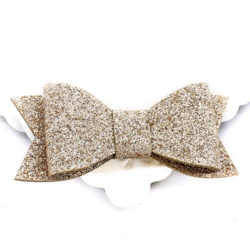 Baby Girl Hairbow Hairpins Chic Glitter Leather Bow Hair Clips Hair Headwear Ef