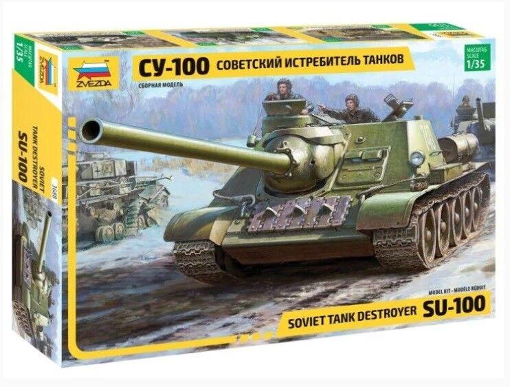 Zvezda 1 35 scale Soviet S.P.Gun SU-100 (new molds)