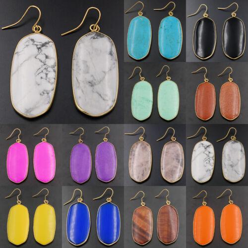 23x58mm Natural Gemstones Healing Reiki 18k Gold Plated Hook Earrings Beads