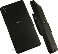 Black Hard Case + Belt Clip Holster W/ Stand For Tmobile Sony Xperia Z3 Phone on Sale