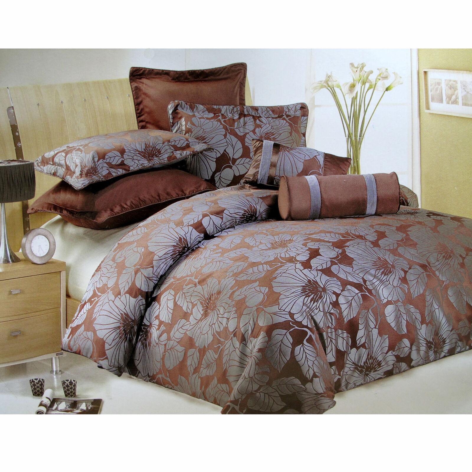 7 Pce Bliss braun Sage Floral Quilt Doona Duvet Cover Set Bed Set - QUEEN KING