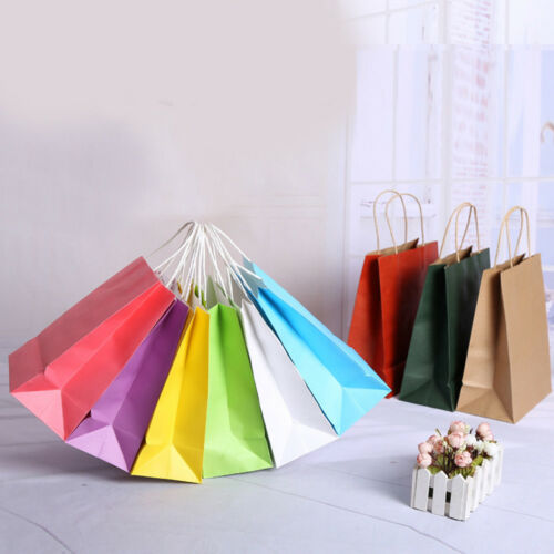 10 Colors Kraft party Paper Carrier Bag Wedding Treat with handle gift loot bags