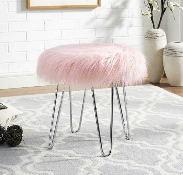 Cool Vanity Chair Fur Ottoman Stool Pink Apartment Decor Glam Small Accent Teen Girls Alphanode Cool Chair Designs And Ideas Alphanodeonline