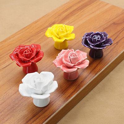 Fashion Flower Ceramic Vintage Floral Rose Door Knobs Drawer Cabinet Door Handle