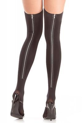New Black Opaque Thigh Hi Hold up Stockings One Size Zip Zipper Print Backseam
