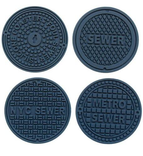 4 Untersetzer New York Kanaldeckel Silikon Manhole Coaster New York Invotis