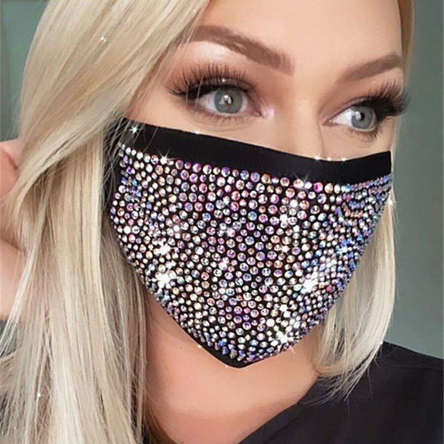 CHYSELCHY Sparkly Rhinestone Face Masd for Women Reusable and Washable Halloween Masquerade Party Decorative Bling Masd