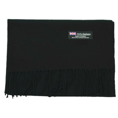 Men Women unisex 100/% CASHMERE Warm PLAIN Scarf pure solid Wool SCOTLAND Black