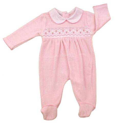 Baby Girl Clothes Spanish Romany Style smocked pink velour sleepsuit 0-9 month