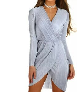 Sian-Ice-Blue-Pleated-Wrap-Front-Mini-Evening-Xmas-Party-Dress