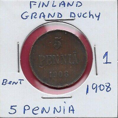 FINLAND GRAND DUCHY 1 PENNI 1916 XF NICHOLAS II,CROWNED MONOGRAM,DENOMINATION AN