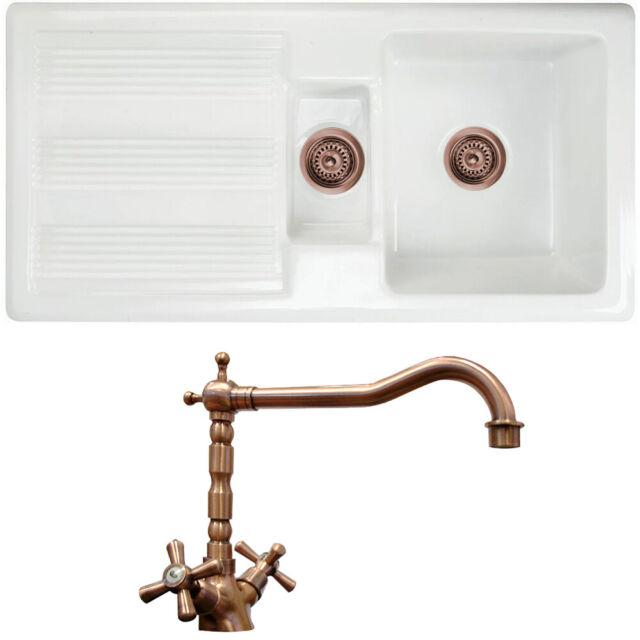 Astini Canterbury 150 1.5 Bowl Gloss White Ceramic Kitchen Sink /& Copper Waste