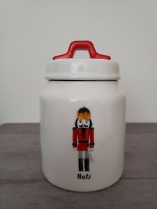 NEW RAE DUNN by MAGENTA CHRISTMAS RED NUTCRAKER Cookie Jar Canister Home Decor