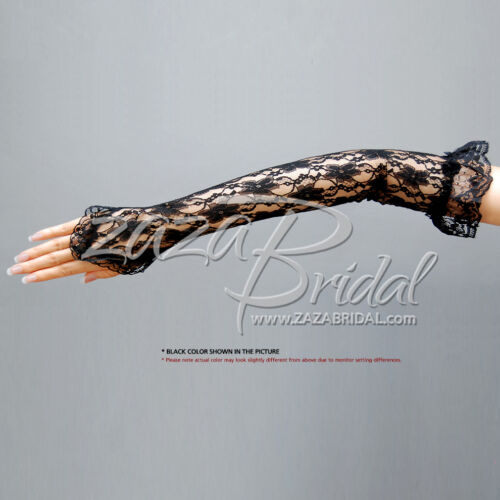 Flower Pattern Fingerless Lace Gloves w// Elastic Ruffle Adorn w// a Small Rosette