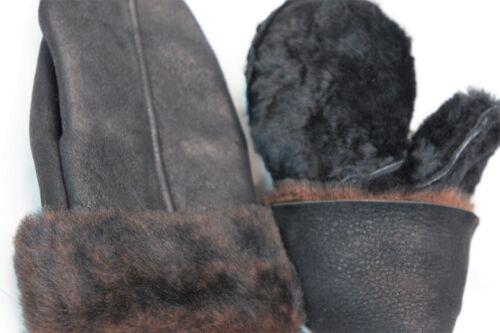 REAL GENUINE SHEEPSKIN SHEARLING LEATHER MITTENS UNISEX BLACK DARK BROWN S-2XL