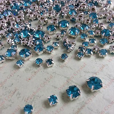 MIXED Sizes Point back Rhinestone Settings Claws Crystal Glass Sew On 100ps