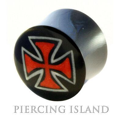 8mm - 30mm Black HORN Eisernes Kreuz Flesh Tunnel Ear Plug Ohr Piercing 112