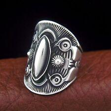 Derrick Gordon Navajo Sterling Silver Handmade Ring Size 9 --- R56 E T