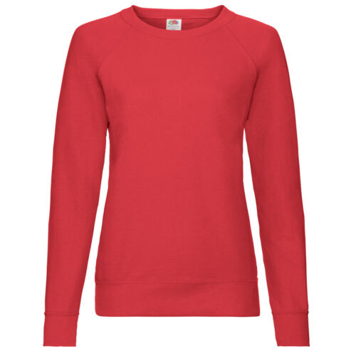 Fruit of the Loom Lady Fit Lightweight Raglan Sweatshirt Pullover Sweater SS180