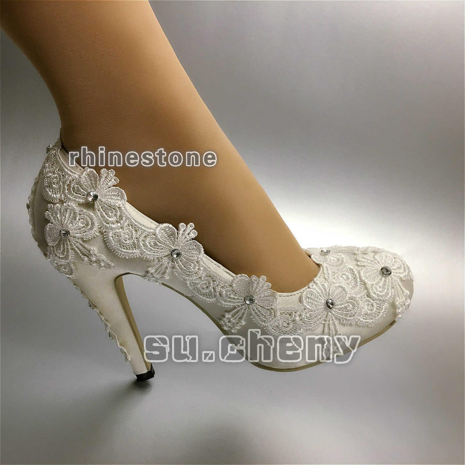Heels WEISS ivory silk lace RHINESTONE Wedding schuhe satin Bride pumps Größe 5-11