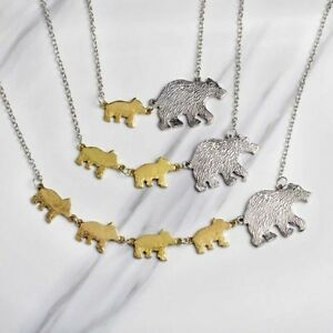 Cubs-Silver-Gold-color-Baby-New-Gift-Mom-Necklace-Mama-Mothers-Bear