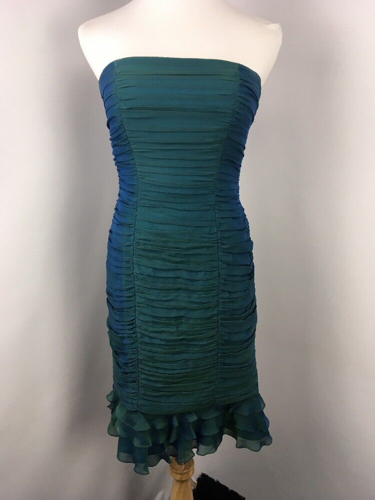 TADASHI COLLECTION 100% SILK Green bluee Mermaid DRESS 4 Sweetheart Ruffle Ruched