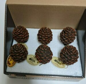 6 Pinecone Wine Stopper Bottle Topper Lodge Decor 5-inch Hand Painted