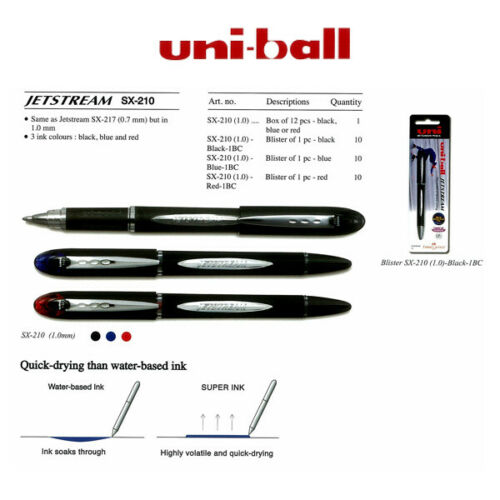 1 x BLUE UNI-BALL JETSTREAM SX-210  PREMIUM ROLLERBALL PEN 1.0 POINT BLACK BODY
