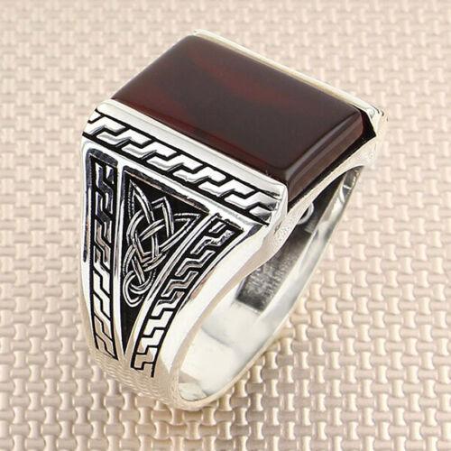 925 Sterling Silber Männer Ring Rot Achat Edelstein Handgefertigt Ottomane Stil