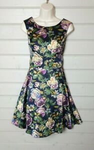 RED HERRING Multicolour Floral Silk Feel Fit & Flare Tea Dress 12 Wedding Party