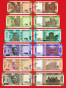 INDIA-SET-10-20-50-100-200-amp-500-Rupias-rupees-2016-2019-Ghandi-Pick-new-SC-UNC