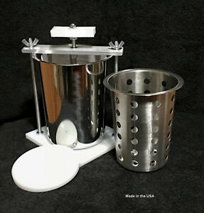 STAINLESS-STEEL-CHEESE-PRESS-W-SS-SOFT-CHEESE-MOLD-SPRING-ASSISTED-ORGANIC