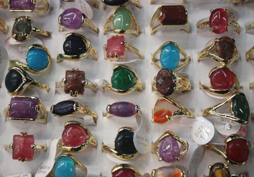 Fashion Job Lots 60pcs colorful nature stone ring gold plated lady/'s rings